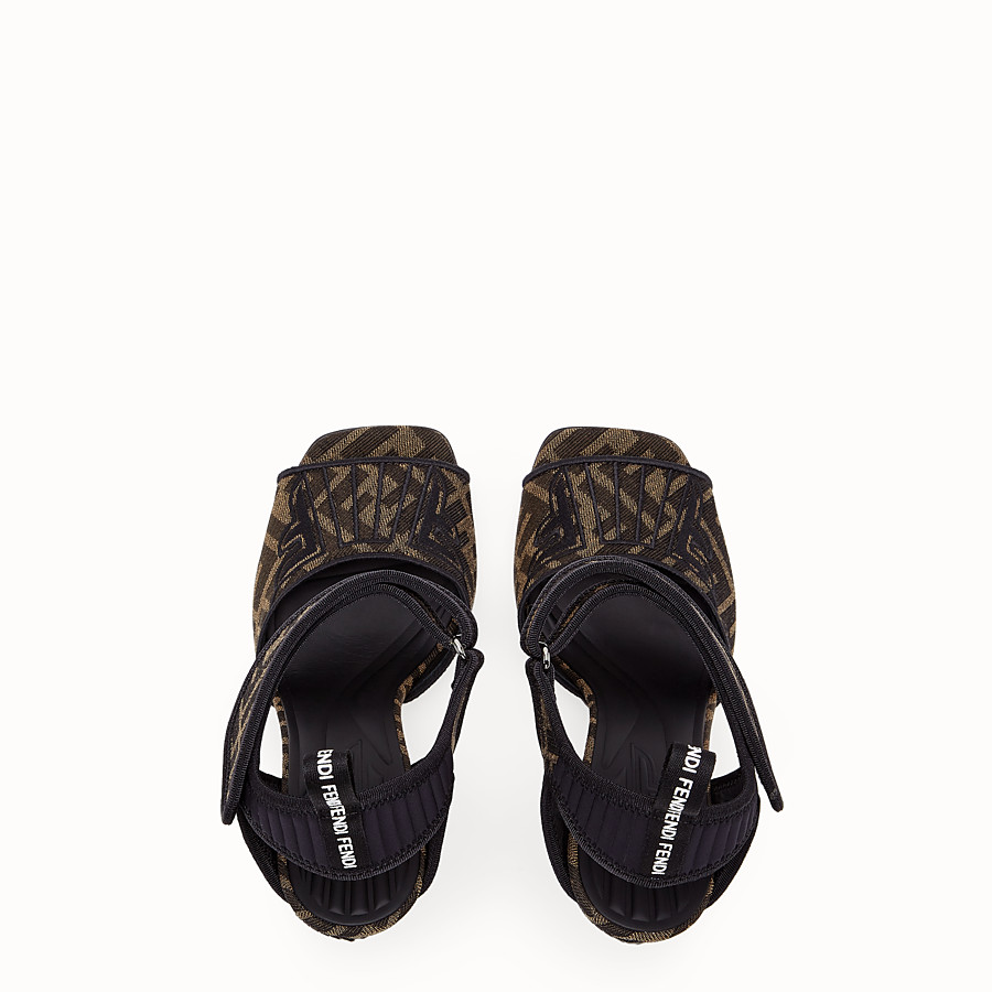 FENDI SANDALS - Multicolour fabric sandals - view 4 detail