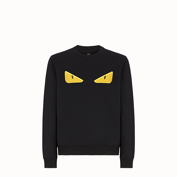 FENDI SWEATSHIRT - Black wool and cotton sweatshirt - view 1 small thumbnail