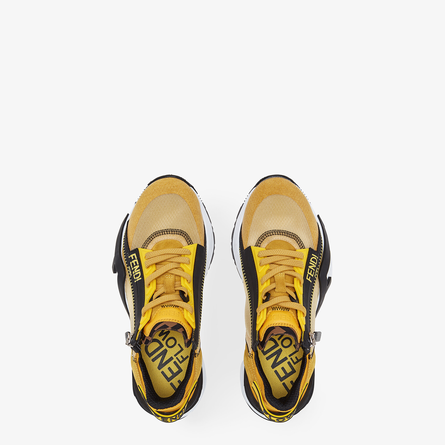 FENDI FENDI FLOW - Low-tops in yellow nylon and suede - view 4 detail