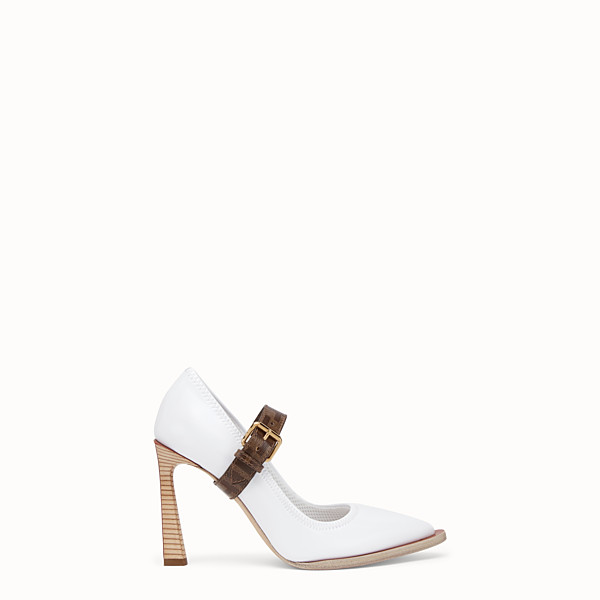 FENDI COURT SHOES - Mary Jane in glossy white neoprene - view 1 small thumbnail