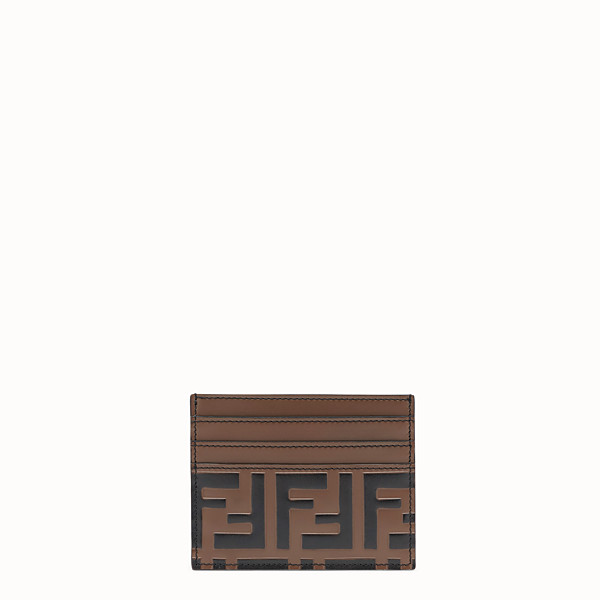 FENDI CARD HOLDER - Brown leather cardholder - view 1 small thumbnail