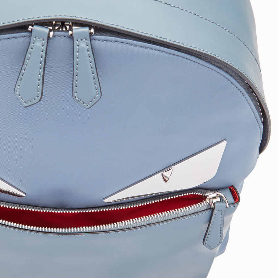 FENDI BACKPACK - Light blue nylon and leather backpack - view 4 detail