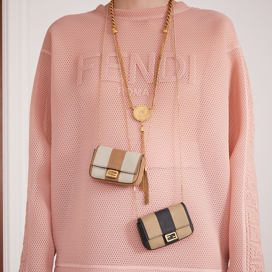 FENDI NANO BAGUETTE - Beige nubuck leather charm - view 2 detail