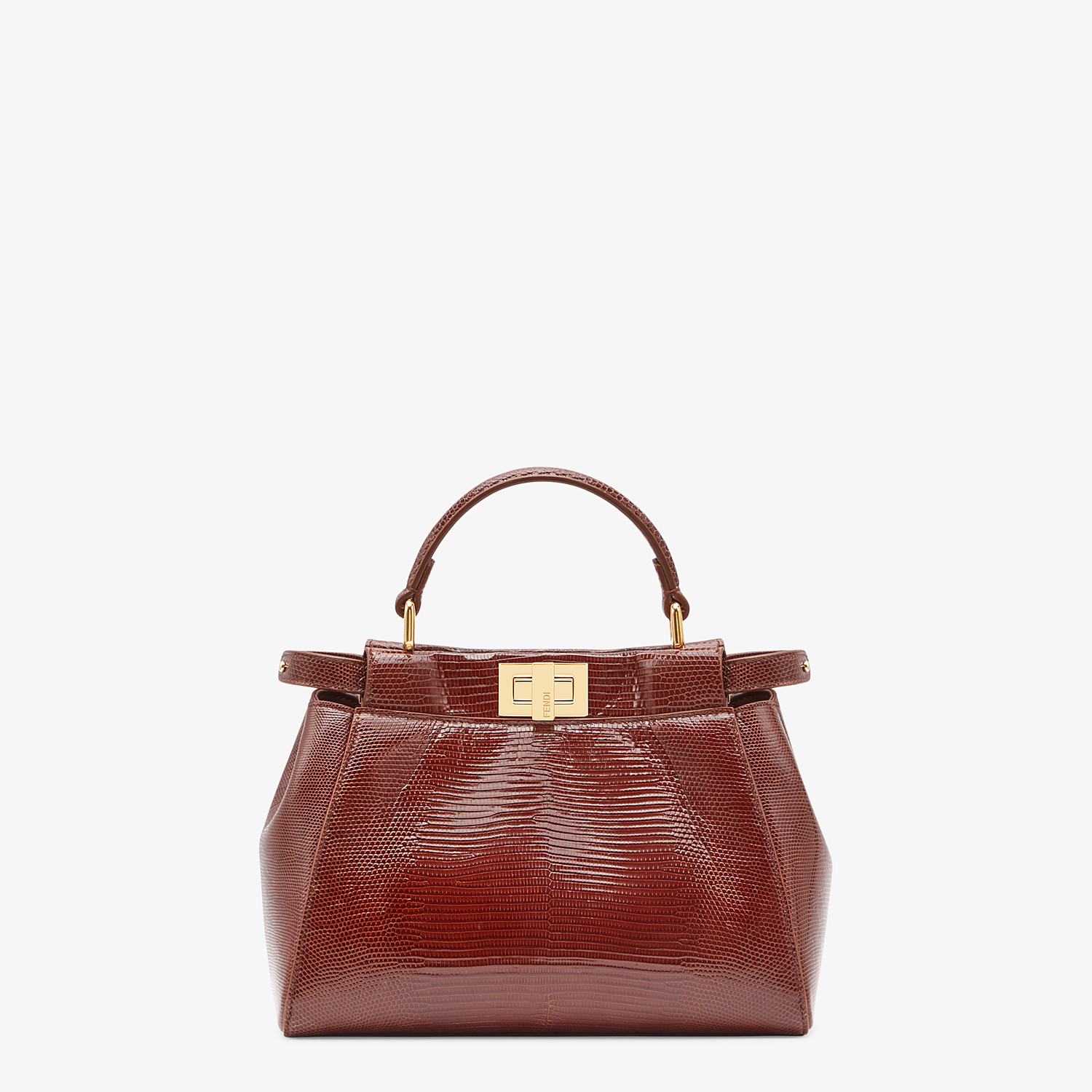 FENDI PEEKABOO ICONIC MINI - Brown lizard bag - view 1 detail