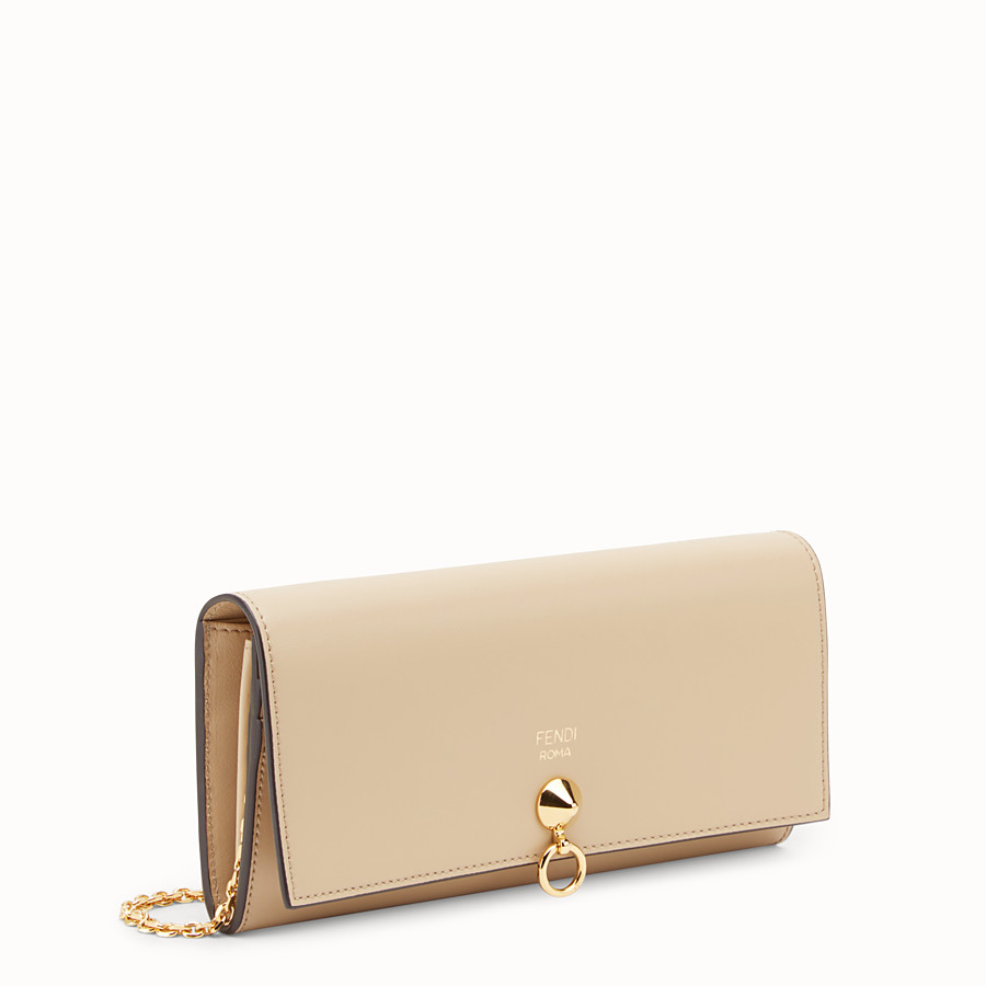 FENDI CONTINENTAL WITH CHAIN - Beige leather wallet - view 2 detail