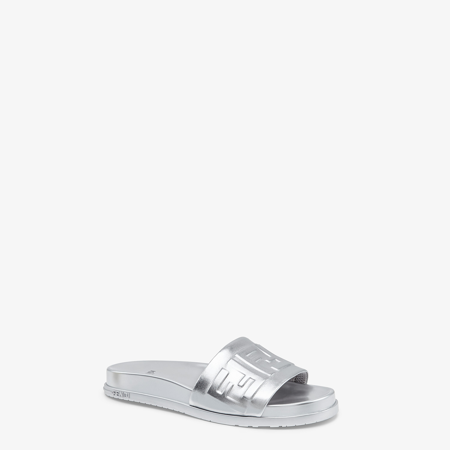 FENDI SANDALS - Silver nappa leather slides - view 2 detail