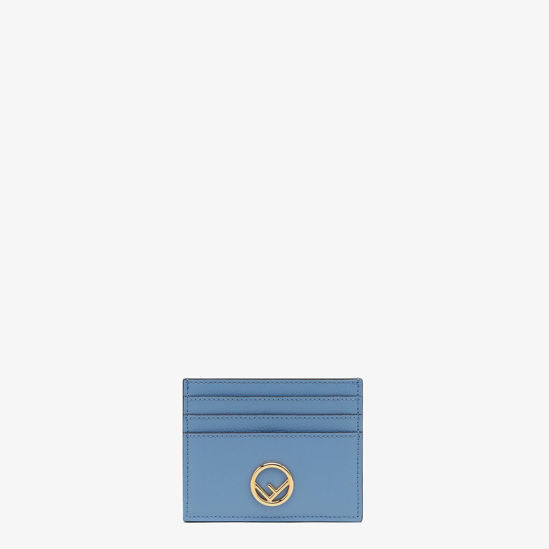 FENDI CARD CASE - Light blue leather flat card holder - view 1 detail