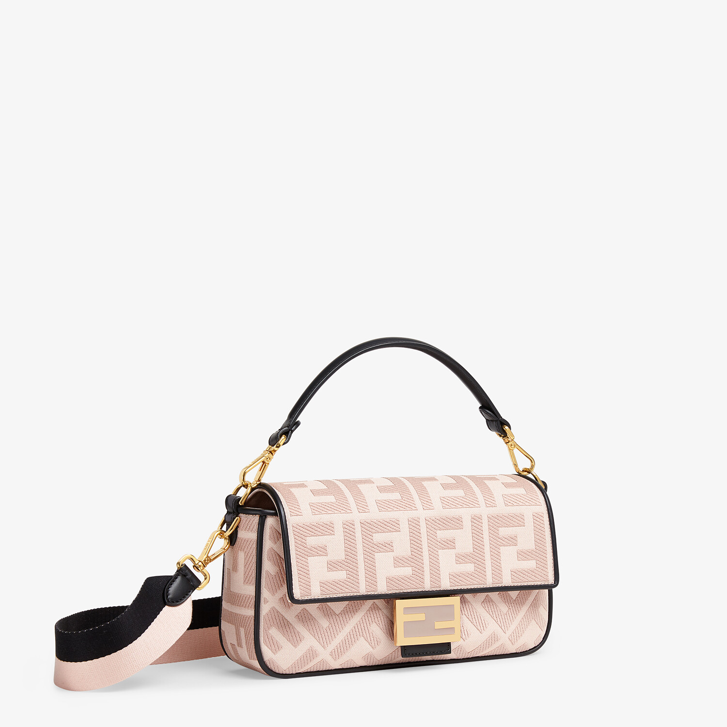 FENDI BAGUETTE - Embroidered pink canvas bag - view 2 detail