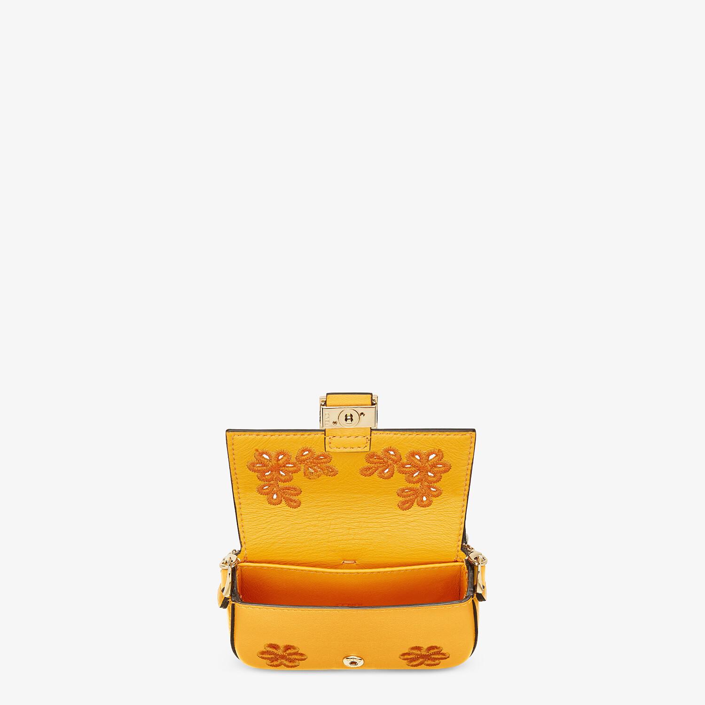 FENDI NANO BAGUETTE CHARM - Orange nappa leather charm - view 4 detail