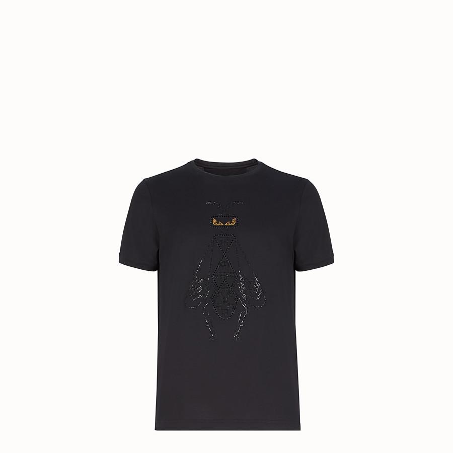 FENDI T-SHIRT - Black cotton jersey T-shirt - view 1 detail
