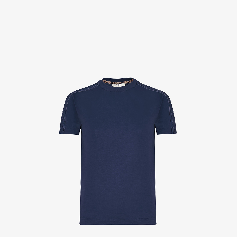 FENDI T-SHIRT - Blue cotton jersey T-shirt - view 1 detail