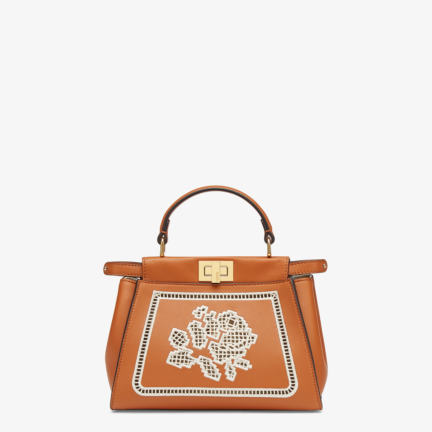 FENDI PEEKABOO ICONIC MINI - Embroidered brown leather bag - view 1 detail