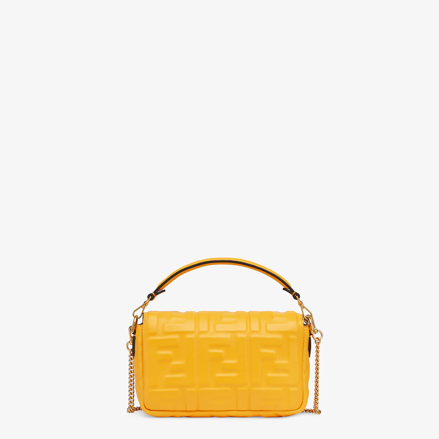 FENDI BAGUETTE - Orange nappa leather bag featuring the FF motif - view 4 detail