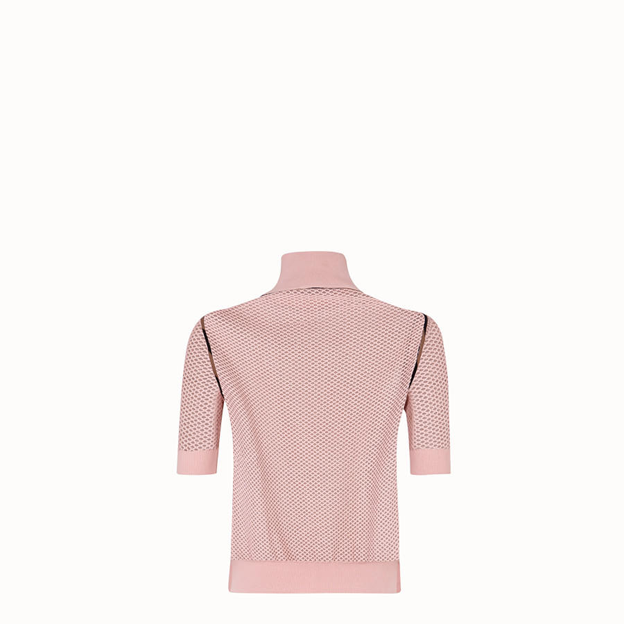 FENDI PULLOVER - Pink mesh jumper - view 2 detail