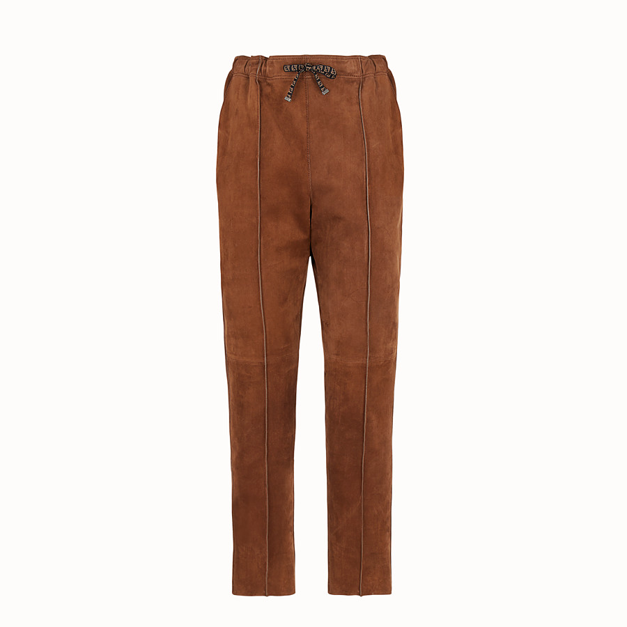 FENDI TROUSERS - Brown suede jogging trousers - view 1 detail
