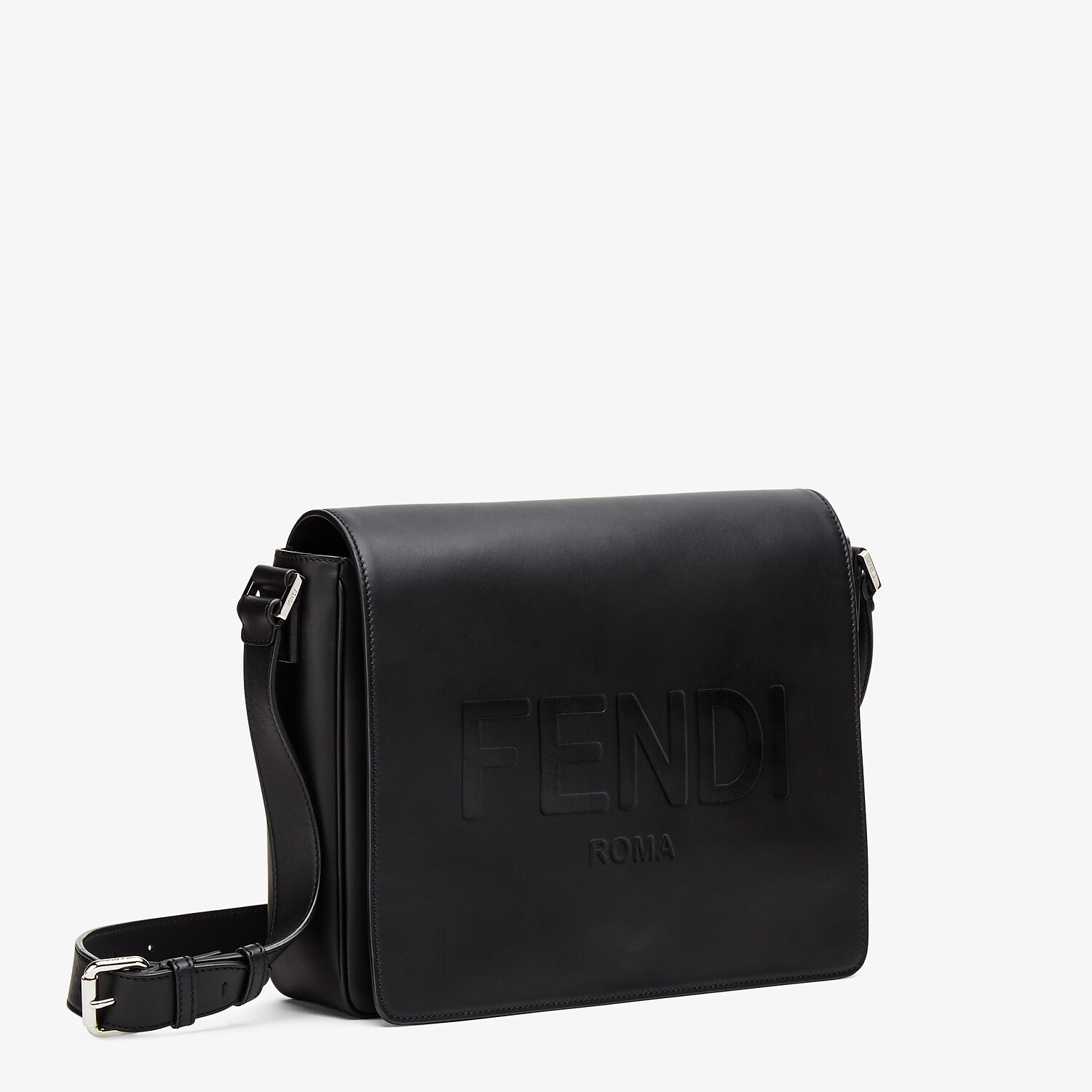 FENDI MESSENGER - Black leather bag - view 2 detail