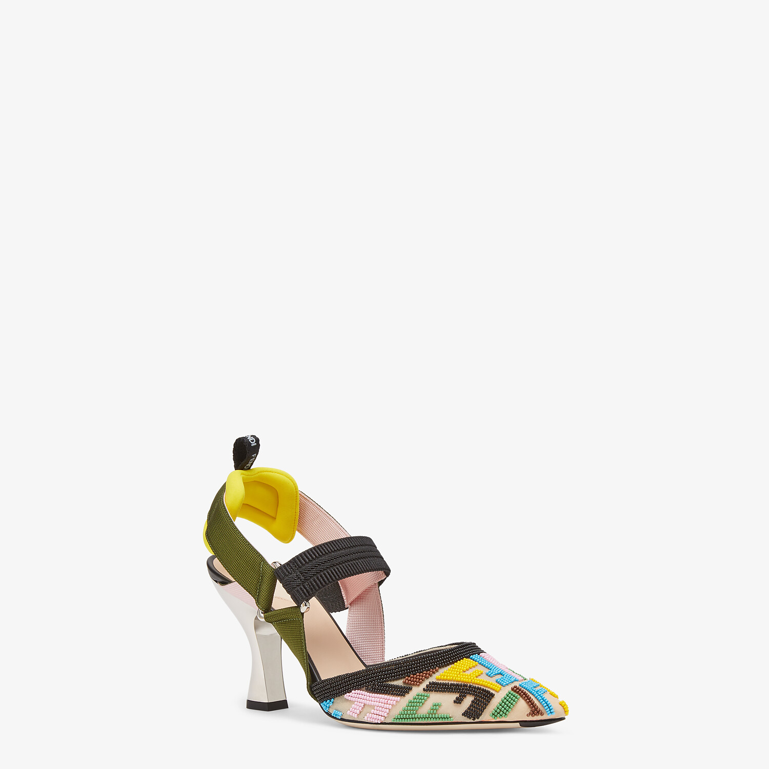 FENDI COLIBRÌ - High-heeled slingbacks with multicolor beads - view 2 detail