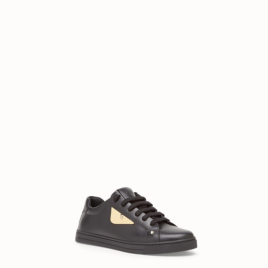 FENDI SNEAKERS - Black leather sneakers - view 2 detail