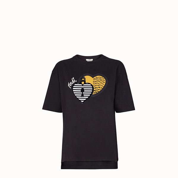 FENDI T-SHIRT - T-shirt en coton noir - view 1 small thumbnail
