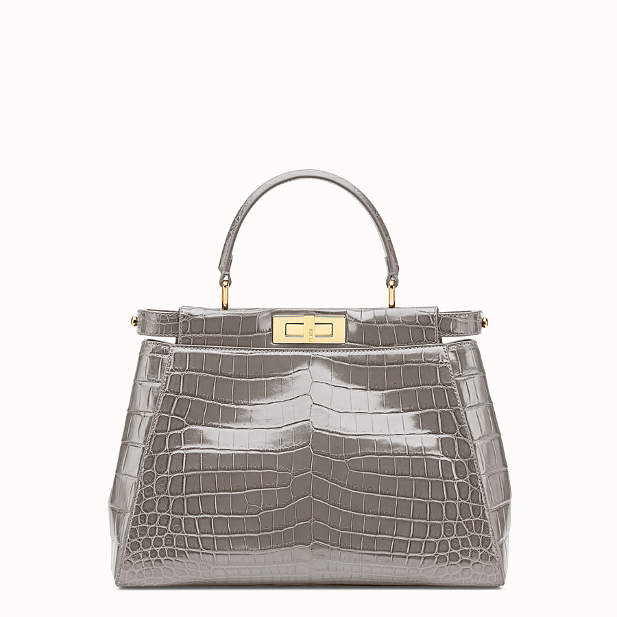 FENDI PEEKABOO REGULAR - Grey crocodile leather handbag. - view 1 detail