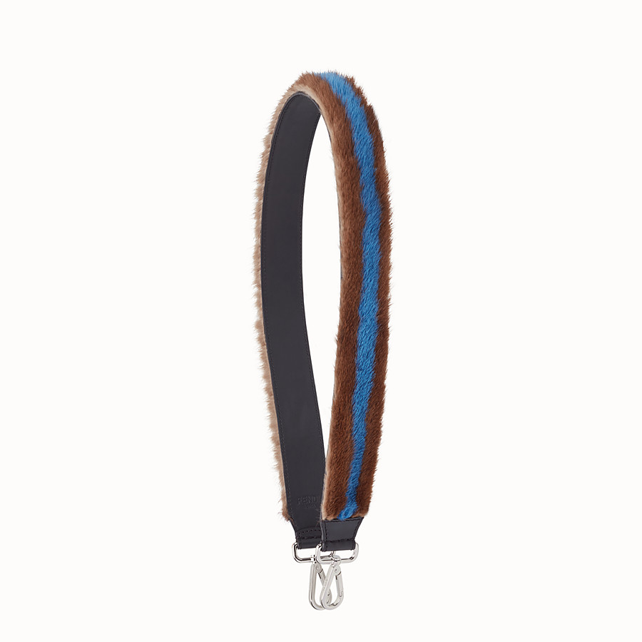 FENDI STRAP YOU - Brown and blue fur shoulder strap - view 1 detail