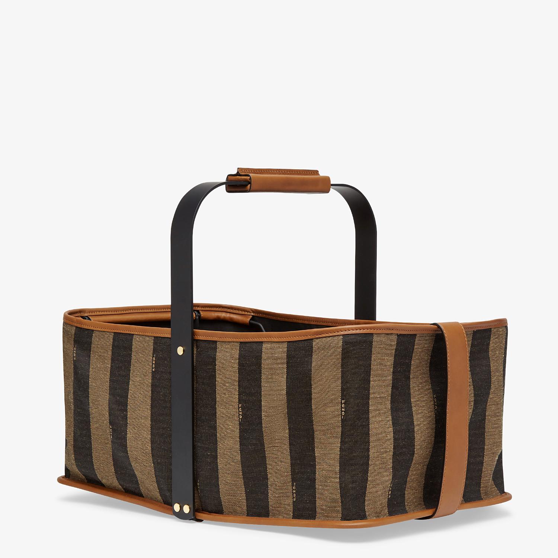 FENDI BASKET BAG - Brown fabric basket - view 2 detail