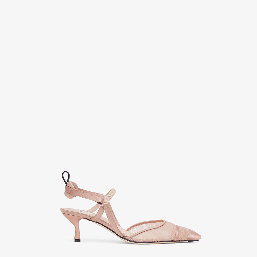 FENDI SLINGBACK - Pink tulle and satin Colibrì - view 1 detail