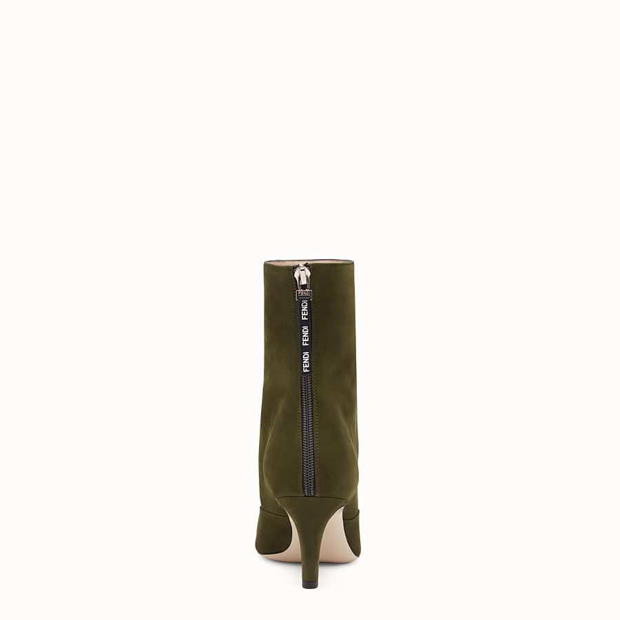 FENDI ANKLE BOOTS - Booties in green nubuck leather - view 3 detail