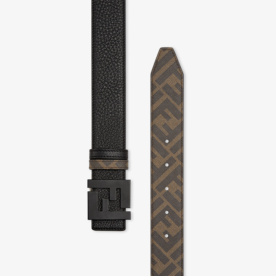 FENDI BELT - Brown leather and fabric belt - view 2 detail