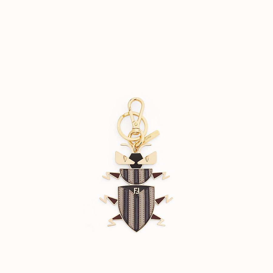 FENDI KEY RING - Metal and multicolour leather key ring - view 1 detail