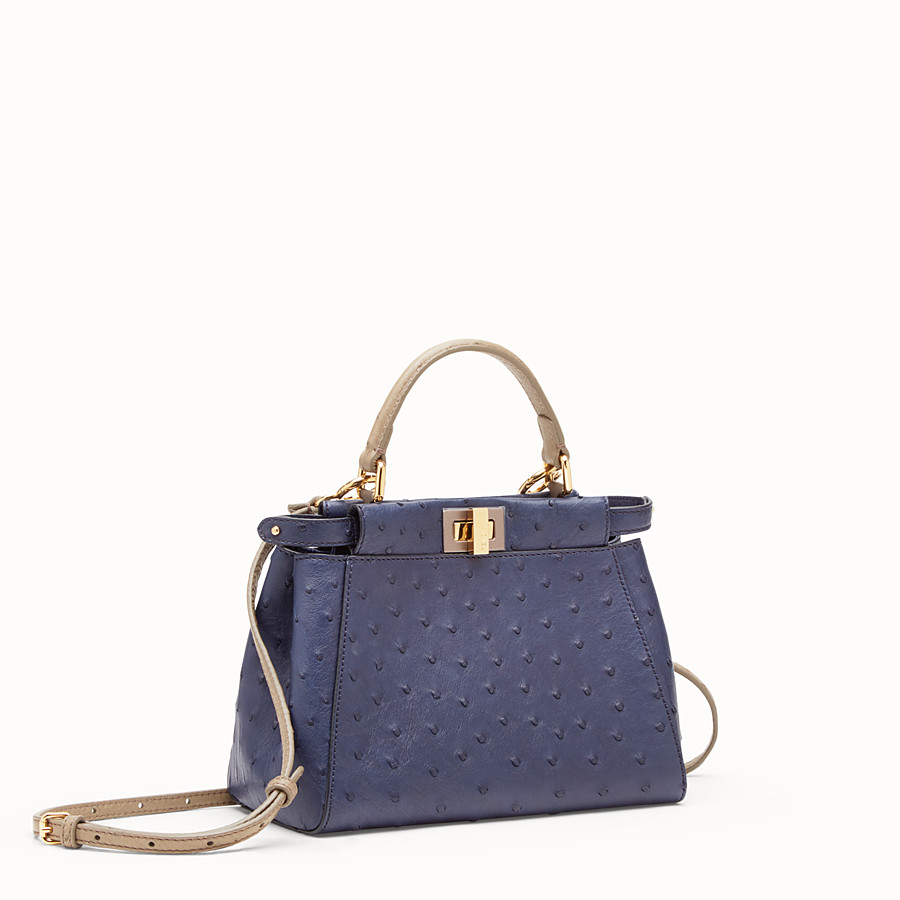FENDI PEEKABOO MINI - Blue ostrich leather bag - view 2 detail