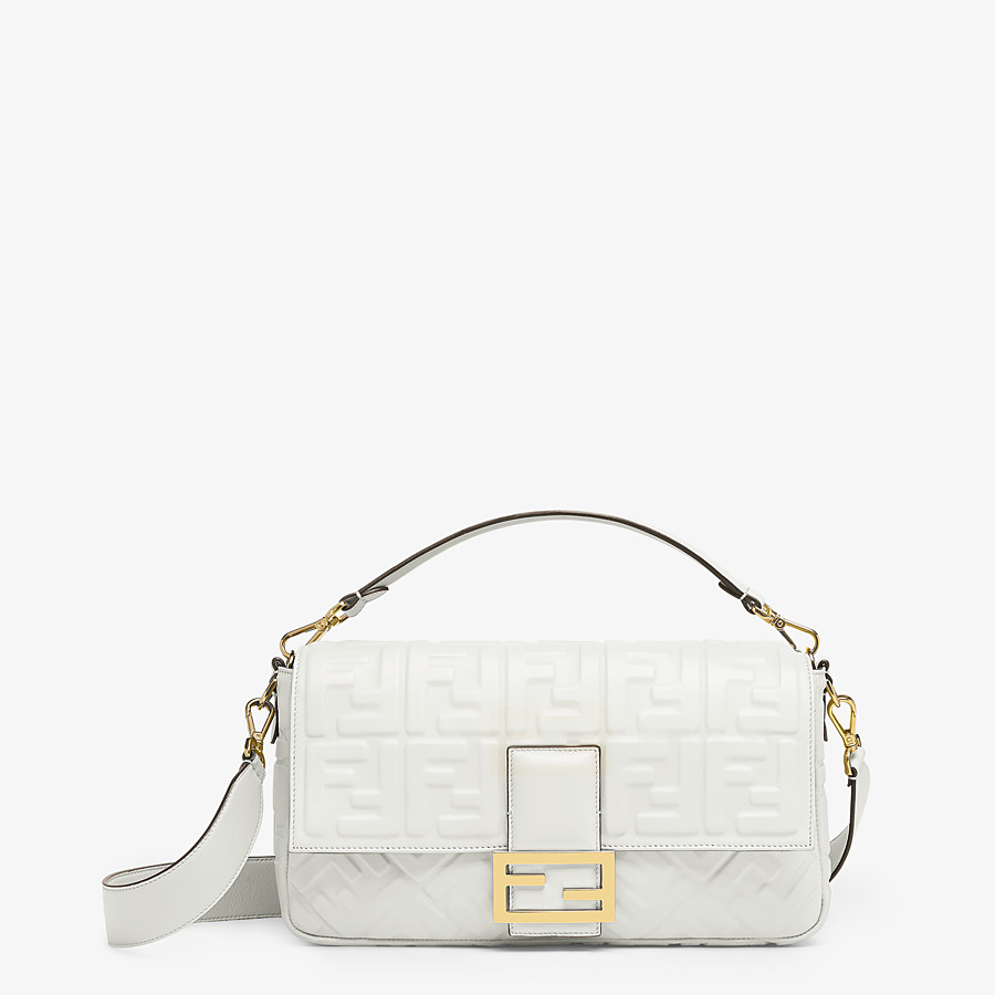 FENDI BAGUETTE LARGE - White leather bag - view 1 detail