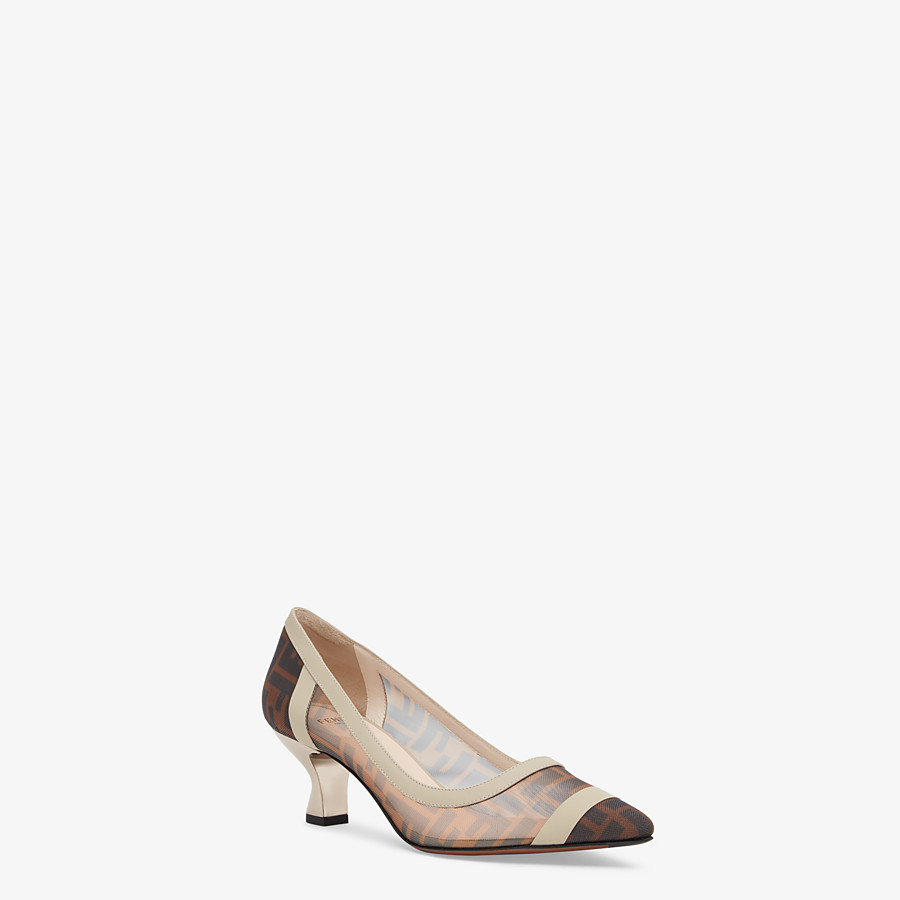 FENDI SLINGBACK - Escarpins en filet et cuir marron - view 2 detail