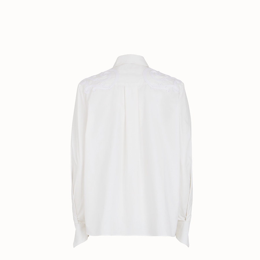 FENDI SHIRT - White cotton taffeta shirt - view 2 detail