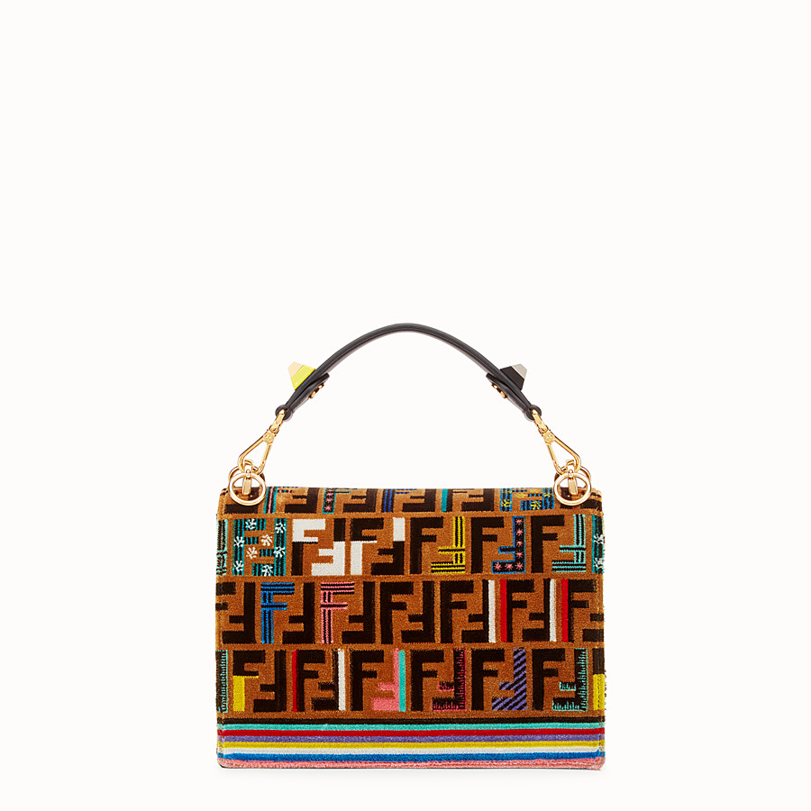 FENDI KAN I - Brown leather and silk bag - view 3 detail