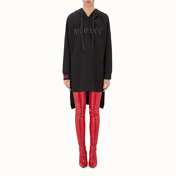 FENDI HAUT - Sweat-shirt long en jersey noir - view 1 small thumbnail