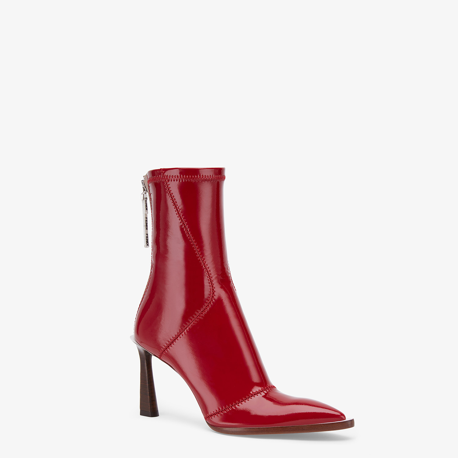 FENDI ANKLE BOOTS - Glossy red neoprene low ankle boots - view 2 detail