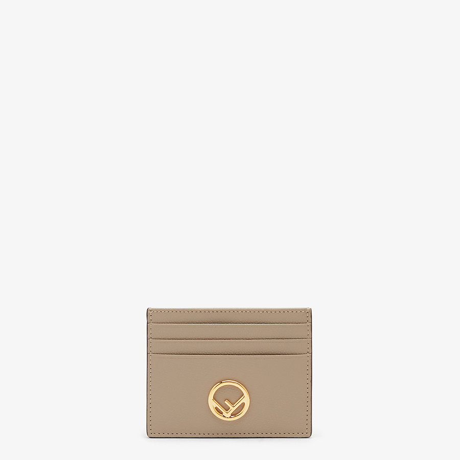 FENDI CARD HOLDER - Flat beige leather card holder - view 1 detail