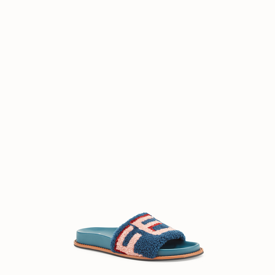 FENDI SLIDES - Flats in leather and multicolour sheepskin - view 2 detail