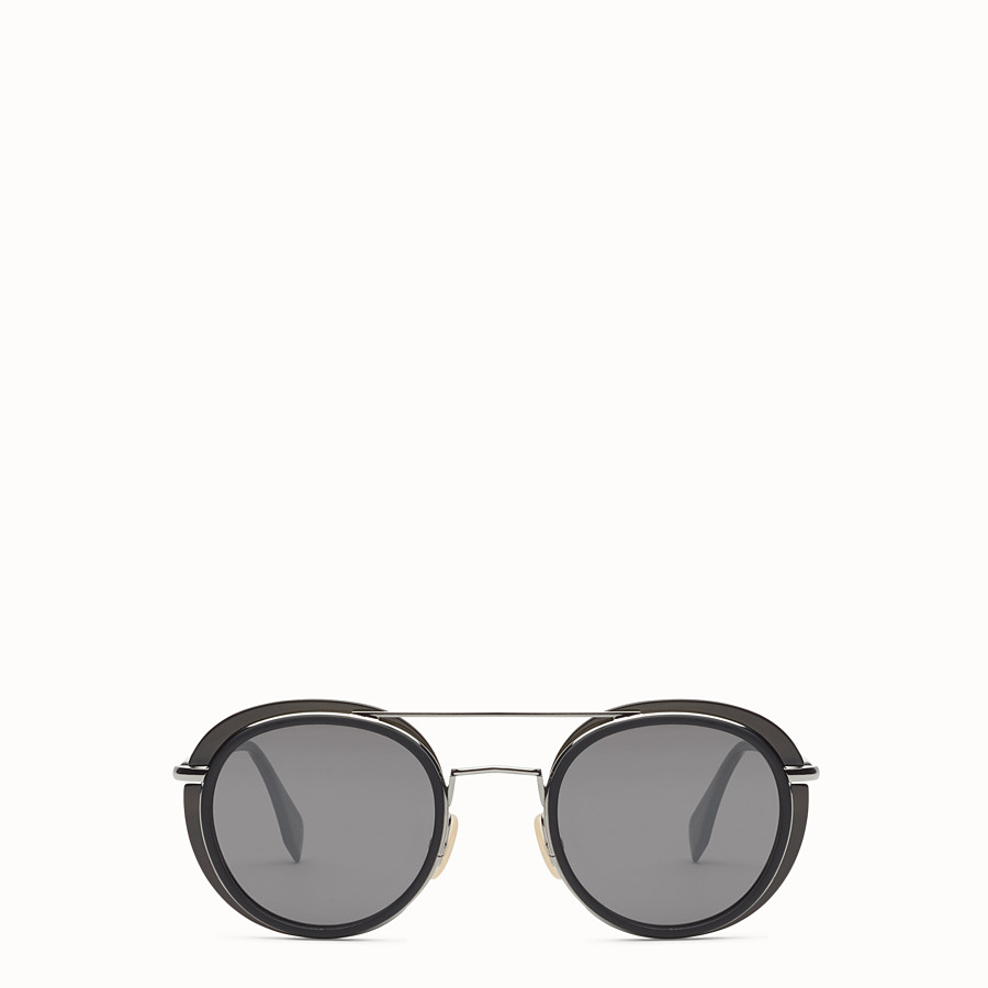 FENDI FENDI GLASS - Dark grey and dark ruthenium sunglasses - view 1 detail