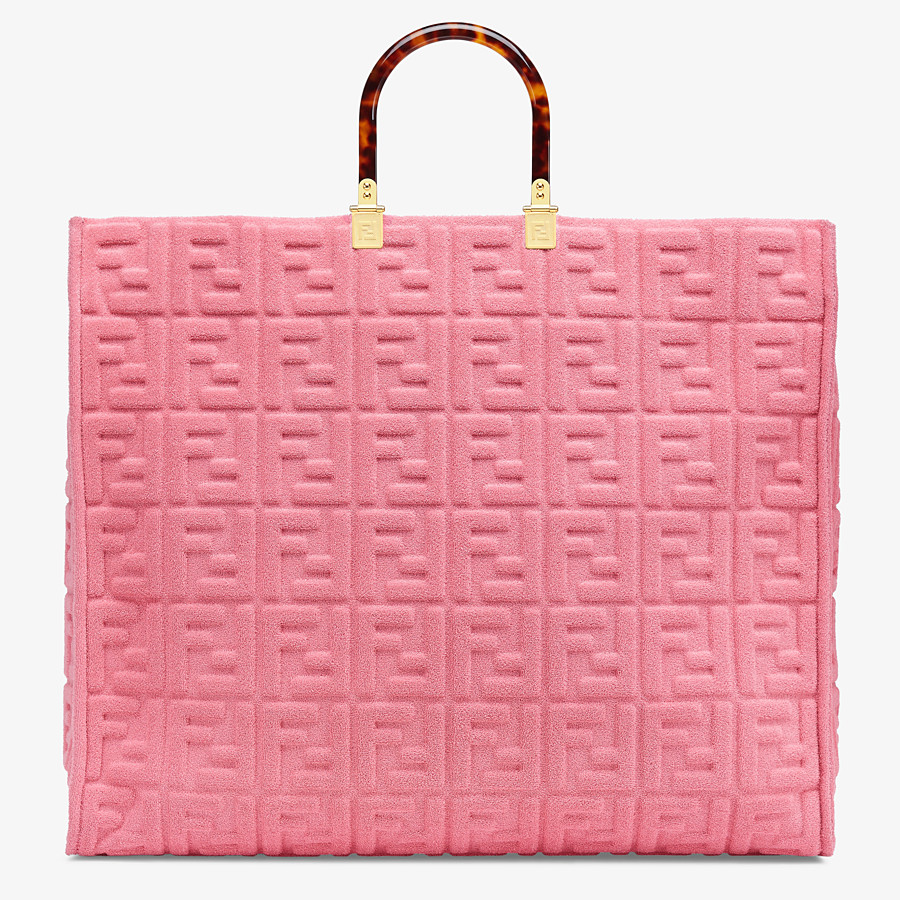 FENDI FENDI SUNSHINE XL - Pink terrycloth shopper - view 1 detail