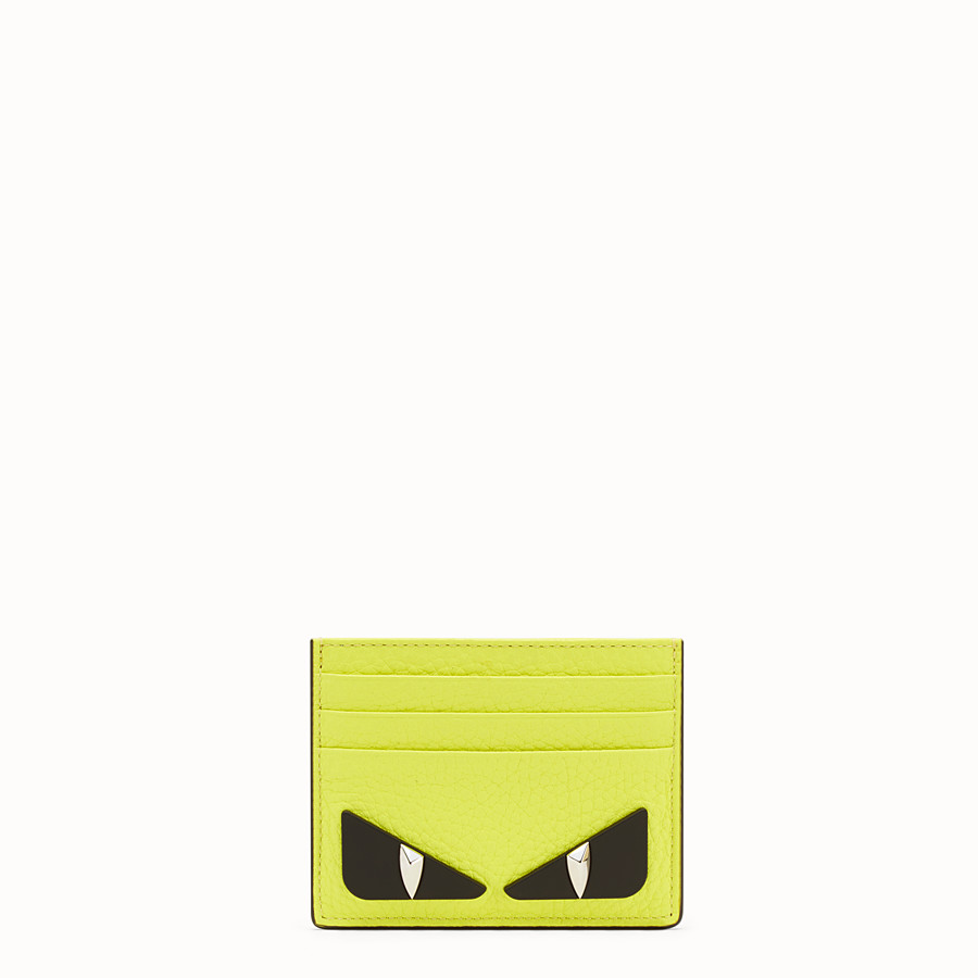 FENDI CARD HOLDER - Yellow Romano leather card holder - view 1 detail