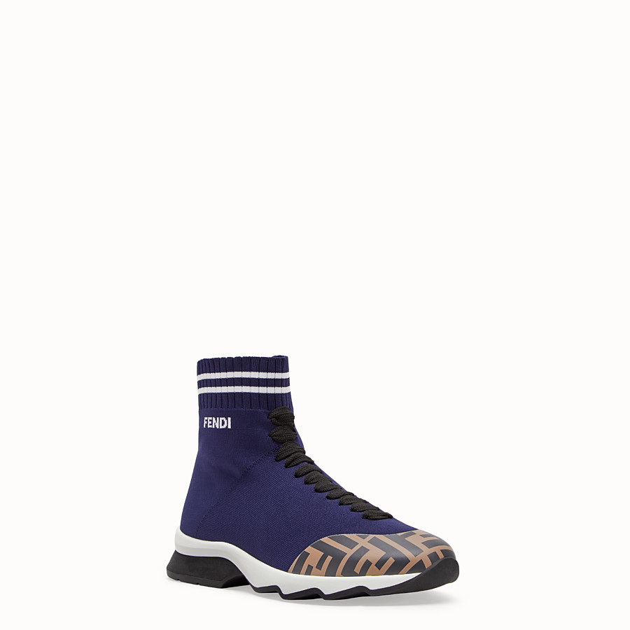 FENDI SNEAKERS - Blue fabric sneaker boots - view 2 detail