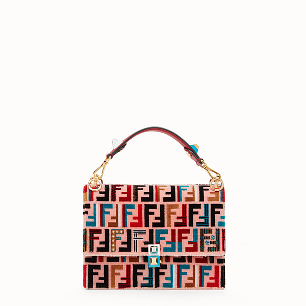 FENDI KAN I - Red leather and silk bag - view 1 small thumbnail