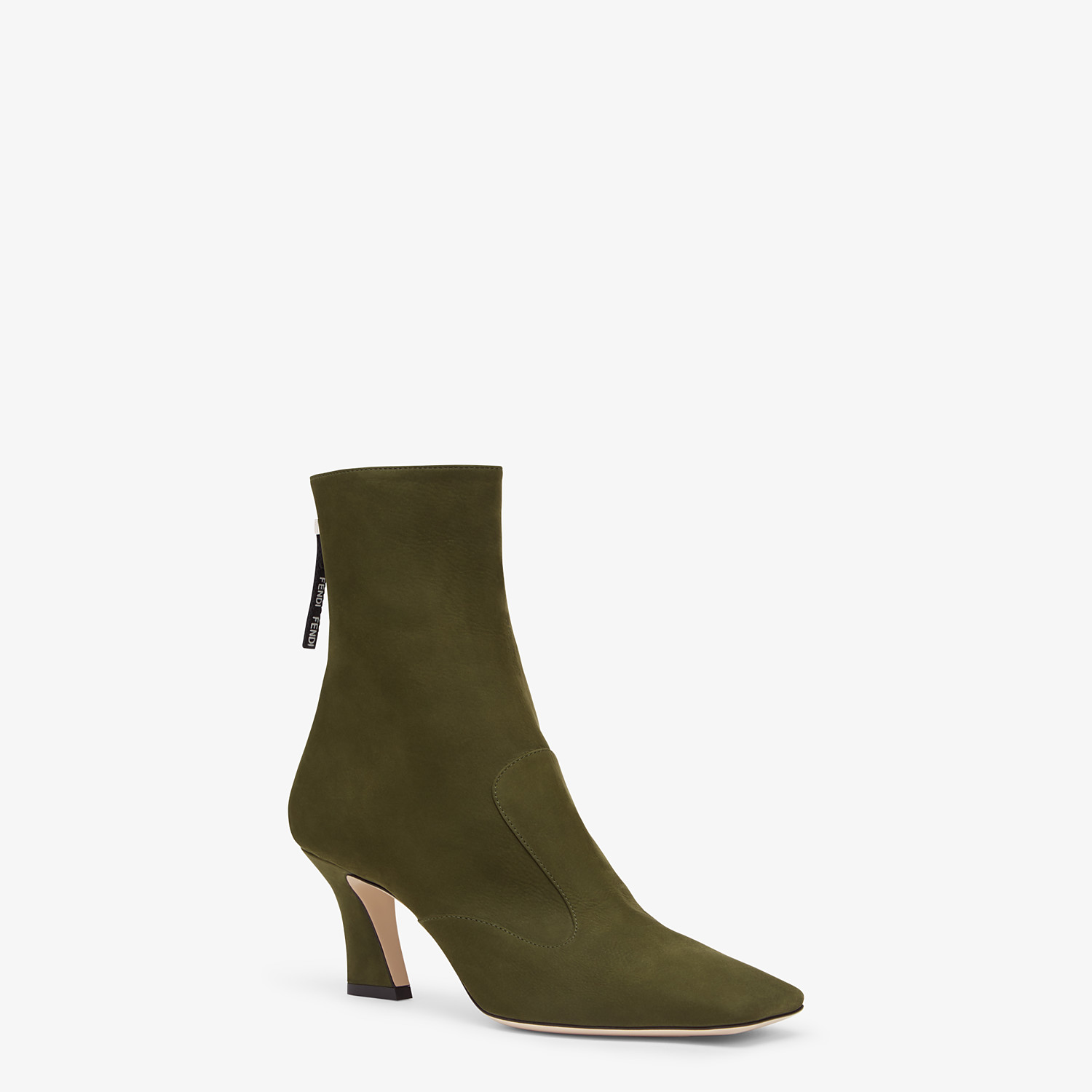FENDI ANKLE BOOTS - Booties in green nubuck leather - view 2 detail