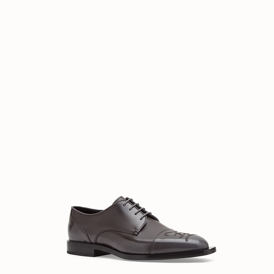 FENDI LACE-UPS - Grey leather lace up - view 2 detail