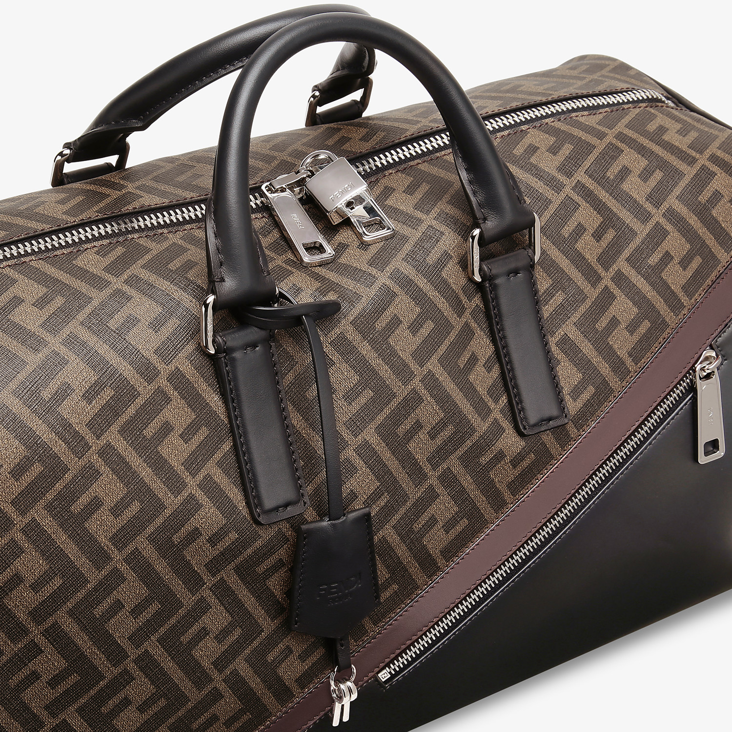 FENDI MEDIUM DUFFLE - Large brown fabric bag - view 5 detail
