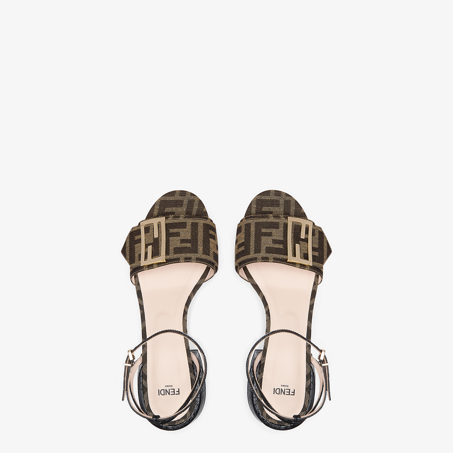 FENDI SANDALS - Brown fabric sandals - view 4 detail