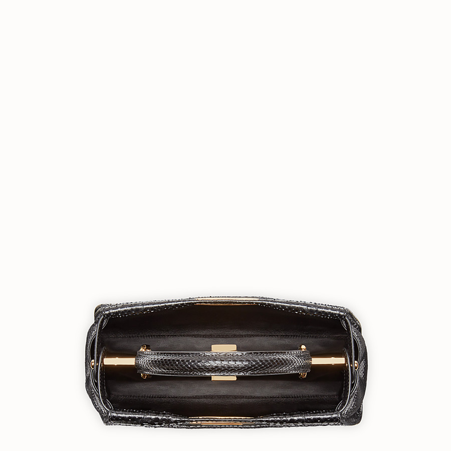 FENDI PEEKABOO REGULAR - Black python handbag. - view 4 detail
