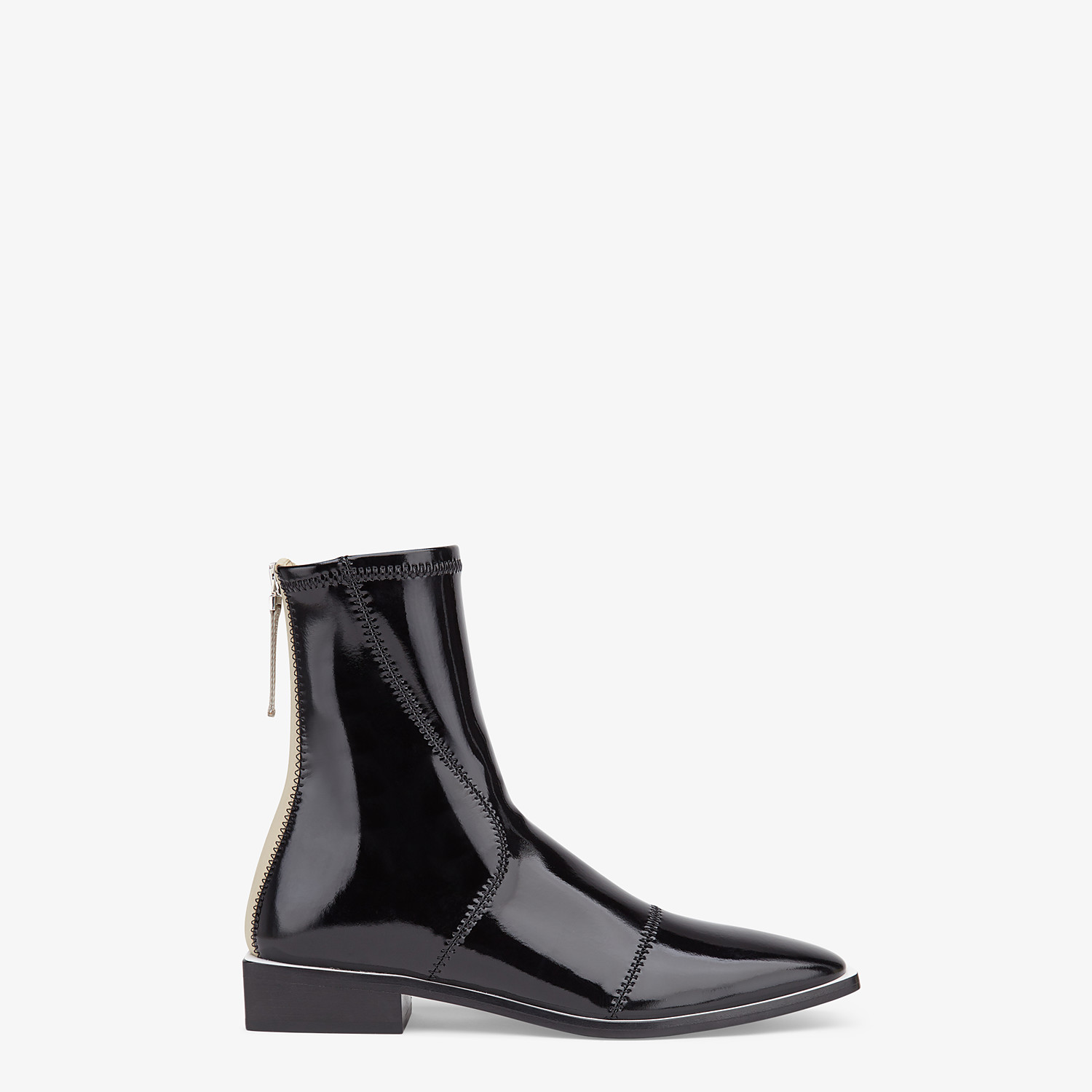 FENDI FFRAME - Glossy black neoprene low ankle boots - view 1 detail